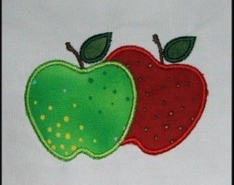 INSTANT DOWNLOAD Pair of Apples Applique designs