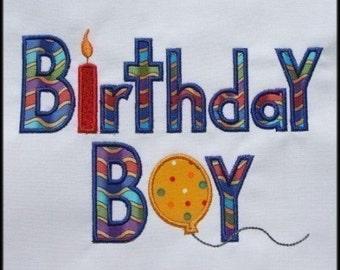 INSTANT DOWNLOAD Birthday Boy Applique designs 2 sizes