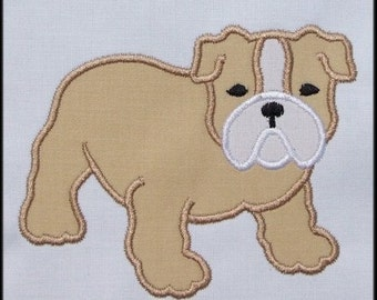 Bulldog machine embroidery applique designs