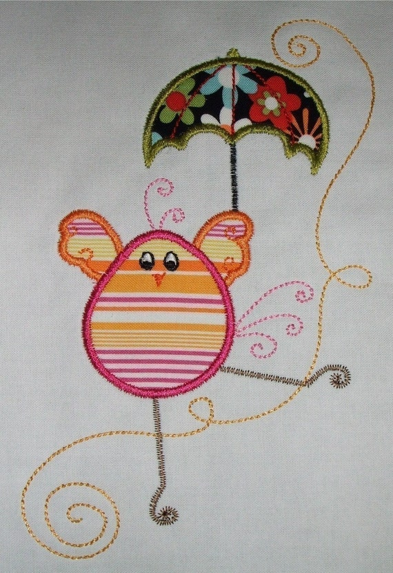 Swirly Chick Applique design A 5 x 7 hoop Machine Embroidery