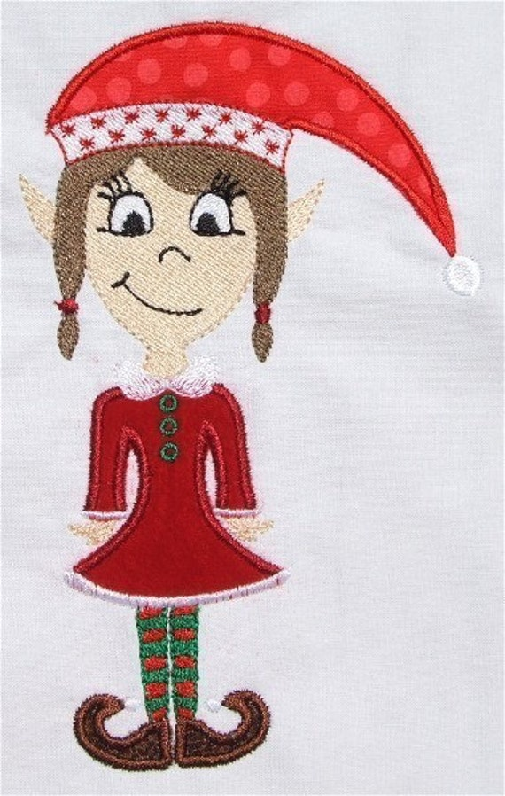 INSTANT DOWNLOAD Christmas Girl ELF Machine Embroidery Applique design