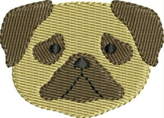 INSTANT DOWNLOAD Mini Pug dog face embroidery designs