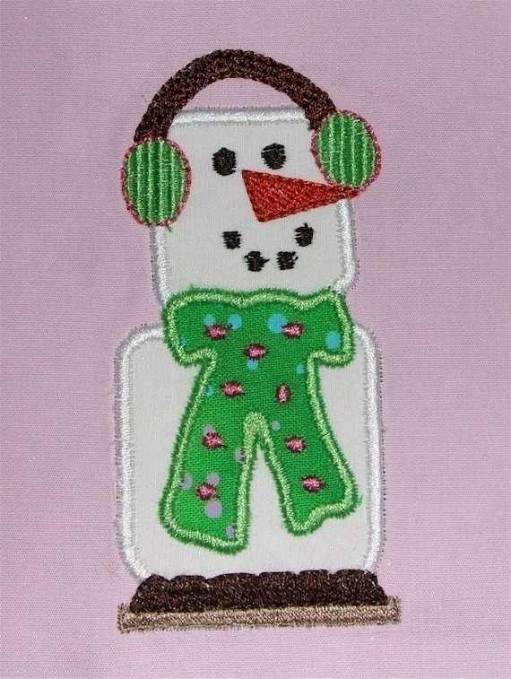 Machine Embroidery Applique and Fill SMORES SNOWMAN designs