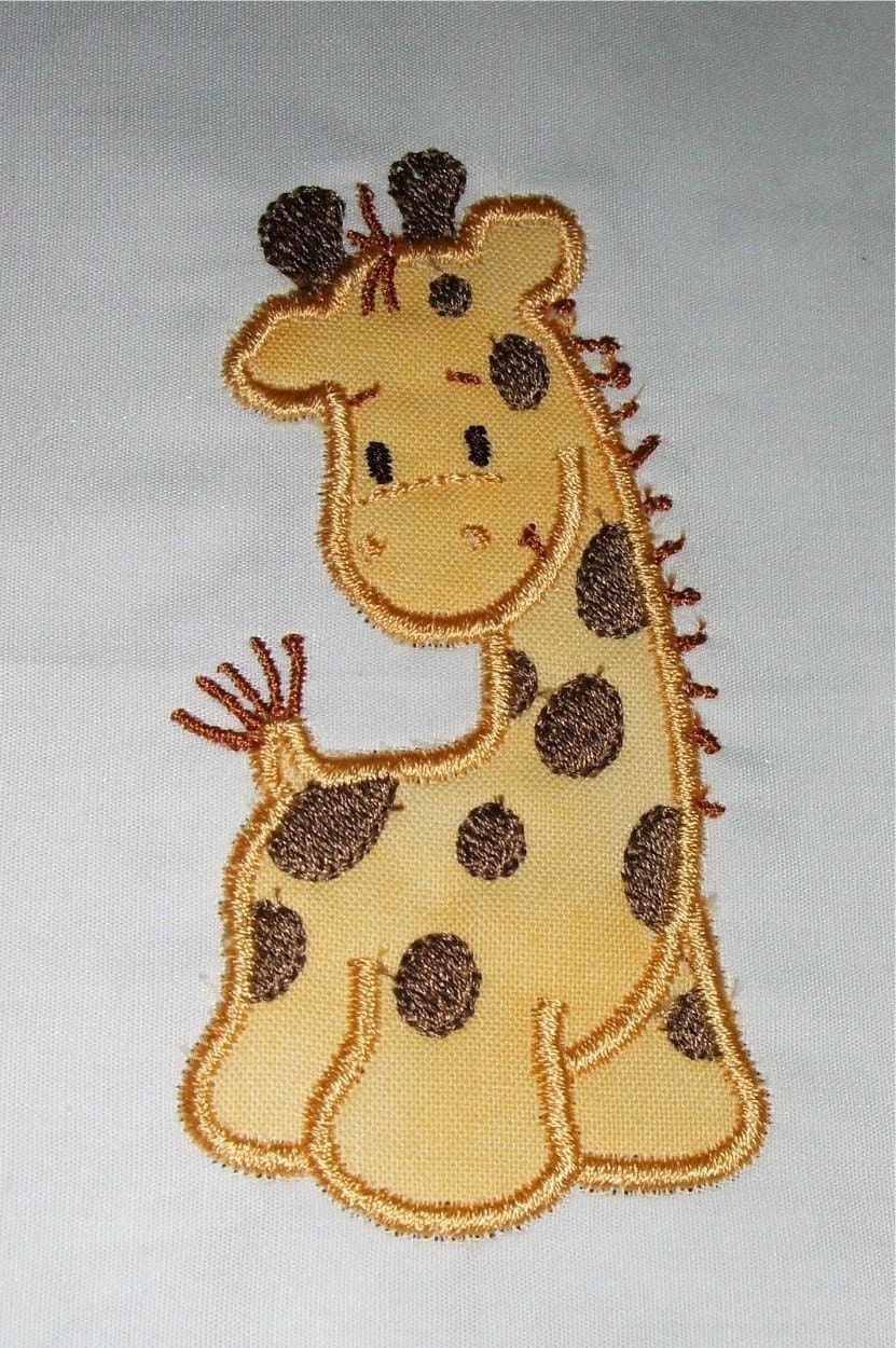 Machine embroidery giraffe applique designs and filled design