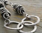 Bracelet:  Sterling Siver Wire, Twisties, Fine Silver Circles, Oxidized