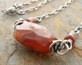 Orange - Brown Necklace, Gemstone, Rusty Brown, Hessonite Garnet, Faceted, Sterling