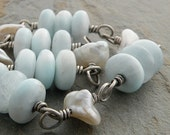 Pastel Blue Bracelet, White Pearls, Stone Beads, Hemimorphite, Sterling Silver, Wire-Wrapped, Oxidized