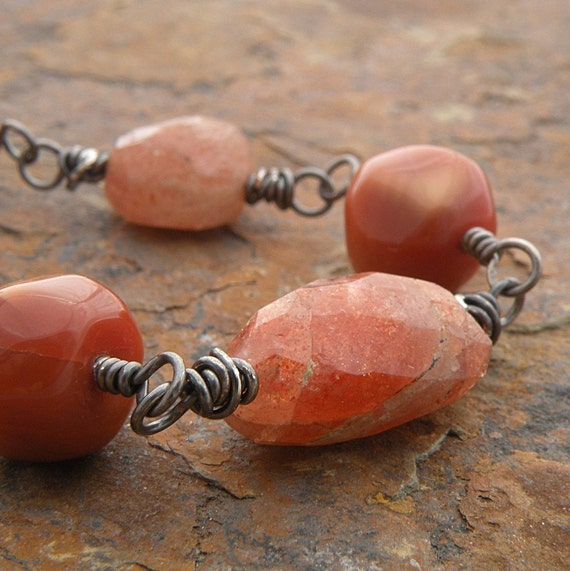 Orange Necklace, Sterling Silver, Semi-Precious Stones, Sunstone, Orange Calcite, Wire-Wrapped