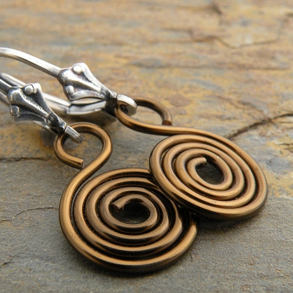 Spiral Earrings, Bronze Wire, Sterling Silver, Lever Back