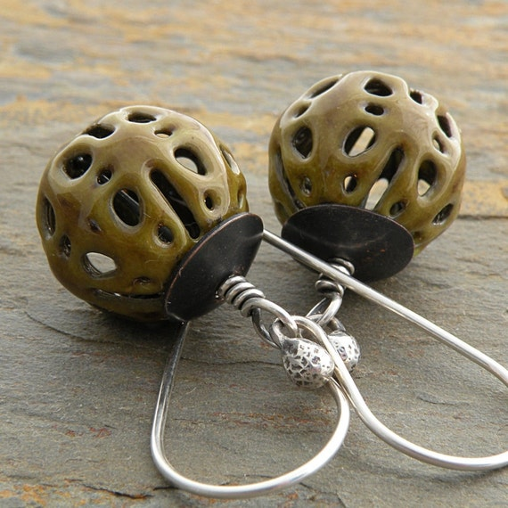 Olive Green Earrings, Enameled Filigree Beads, Sterling Silver and Copper