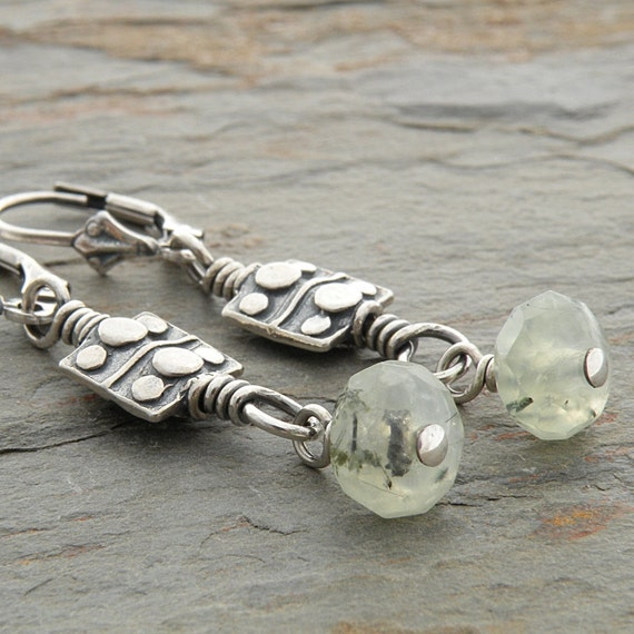 Green Earrings: Prehnite Stones, Sterling Silver, Pastel Green, Lever Back Ear Wires