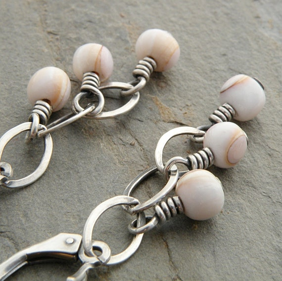 White Shell Earrings, Tan, Round, Chain, Wire Wrapped, Lever Back, Sterling Silver, Oxidized