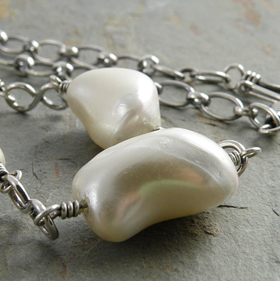 White Necklace, Mother of Pearl, Nuggets, Sterling Silver, Wire Wrapped