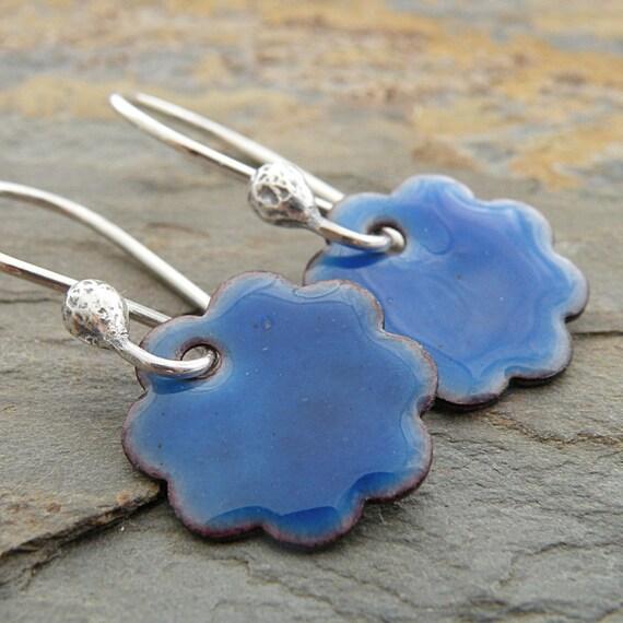 Indigo Blue Earrings, Enameled Flowers, Copper, Sterling Silver Ear Wires