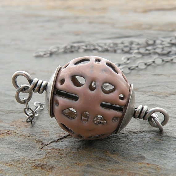 Soft Pink Filigree Necklace, Enameled Bead, Sterling Silver Chain, Oxidized