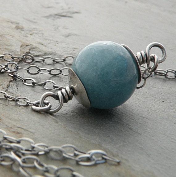 Blue Quartz Necklace, Aqua Blue, Angelita Quartz, Gemstone, Chain, Sterling Silver, Oxidized