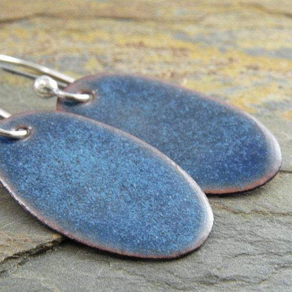 Blue Earrings, Enamel on Copper, Oval, Torch Fired, Sterling Silver, Rustic
