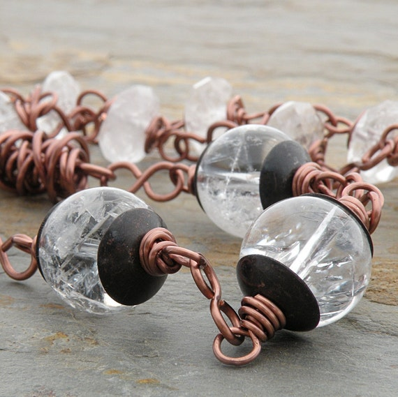 RESERVED for EP - Copper and Clear Quartz Necklace, Gemstone, Wire-Wrapped, Twistie Beads