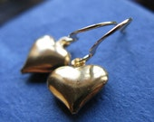 Sweetheart Earrings gold plated puffed heart vintage Last Pair Sale