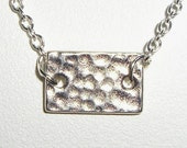 Silver hammered rectangle medallion pounded sctratched organic coin like necklace charm pendant boho celebrity style