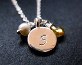 Happy Graduation Sterling silver reversible initial year necklace birthstone pearl lost wax method disc handstamped initial graduation date