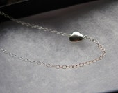 Sweet Love. Tiny Sterling Silver heart necklace. Limited edition
