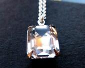 Emerald Cut vintage swarovski crystal sterling silver necklace limited edition necklace