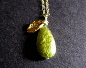 Fall Harvest green freshwater pearl pearl 24K Gold vermeil tiny baby leaf necklace