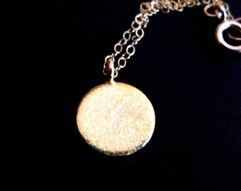 New Moon 24K Gold disc necklace yoga meditation inspired karma brushed gold circle coin charm