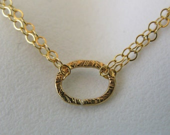 Gold filled oval karma eternity harmony yoga double chain scratched hammered finish necklace chain pendant charm hand wrought pounded