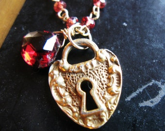 Old fashioned love antique heart padlock charm Grade AA faceted Garnet heart briolette and rondelles on 24K Chain necklace ONLY ONE