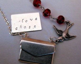 Message of Love vintage envelope locket sparrow and custom stamped I love you message and red crystal silver necklace