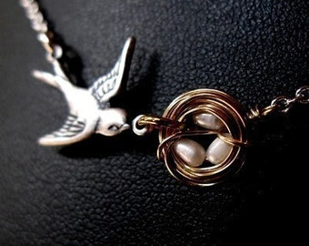 Mothers love II silver oxidized bird hand woven nest with rice pearl eggs custom necklace