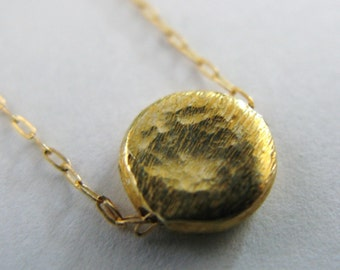 Pot of Gold hammered coin necklace fill circle coin medallion scratched pounded hammered hammer Disc disk coin medallion
