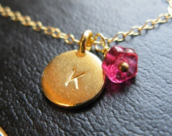 24K Gold vermeil Custom Initial Stamped coin  and flower necklace chain