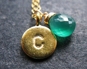 My Name is 24K Gold vermeil and emerald green onyx May birthstone ID monogram custom initial hand stamped disc necklace