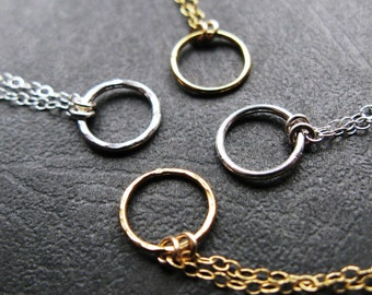 Small 14K or Sterling Silver hammered or smooth Circle necklace