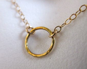 14K GOLD GV vermeil tiny small hammered smooth custom circle o coin karma harmony eternity life pounded necklace chain pendant