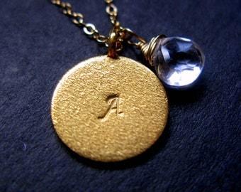 Elegantly yours Large 16mm brushed Gold vermeil disc monogram handstamped initial and birthstone necklace