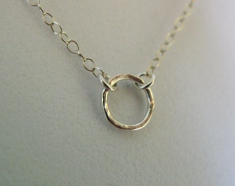 Sterling Silver tiny hammered circle o eternity karma necklace pendant chain