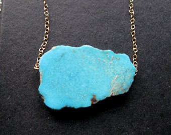 Bright Sky Robins Egg turquoise geode slice slab necklace one of a kind Sale