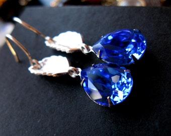 Drop of Water Earrings Vintage sapphire swarovski crystal sterling silver leaf vine earrings Only one.