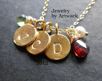 Our Family tree 24K Gold vermeil cluster coin disc charms custom initial and birthstone necklace