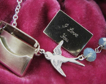 Messenger Bird necklace flying soaring through the sky pacific silver antiqued oxidized plated birdy birdie sparrow dove vintage