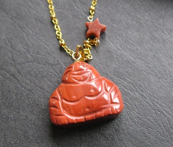 Sale Laughing Buddha Halloween orange sunstone and jasper star gold necklace ONLY ONE
