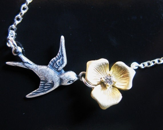 Humming Bird Song vintage sparrow and gold plated blossom with cubic zirconia flower necklace