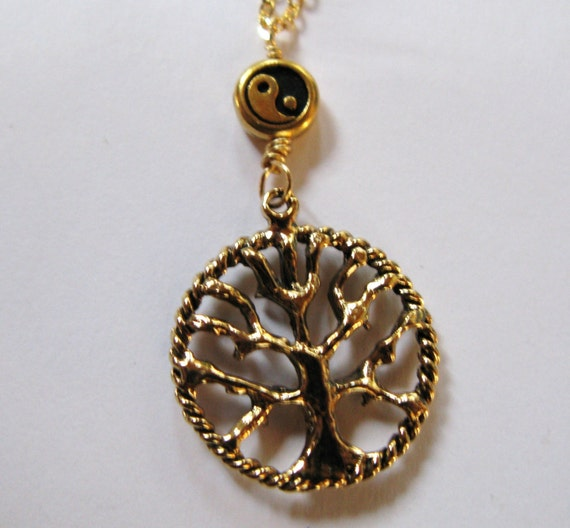 tree of life ying yang necklace chain pendant charm lucky