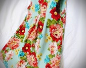 Vintage style pleat front, bold floral girls dress, size 2