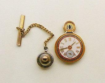 Aviva Vintage Old Fashion Clock Pocket Watch l Tie Tack 103-5