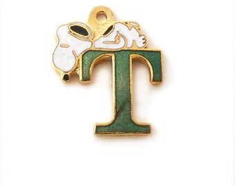 Snoopy Alphabet Letter T Enamel Charm in Green